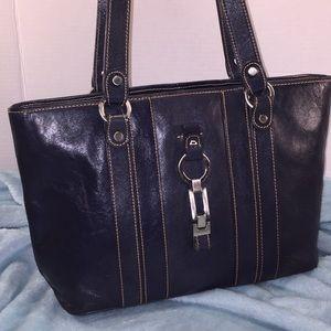 ETIENNE AIGNER Navy Blue Leather Shoulder Bag